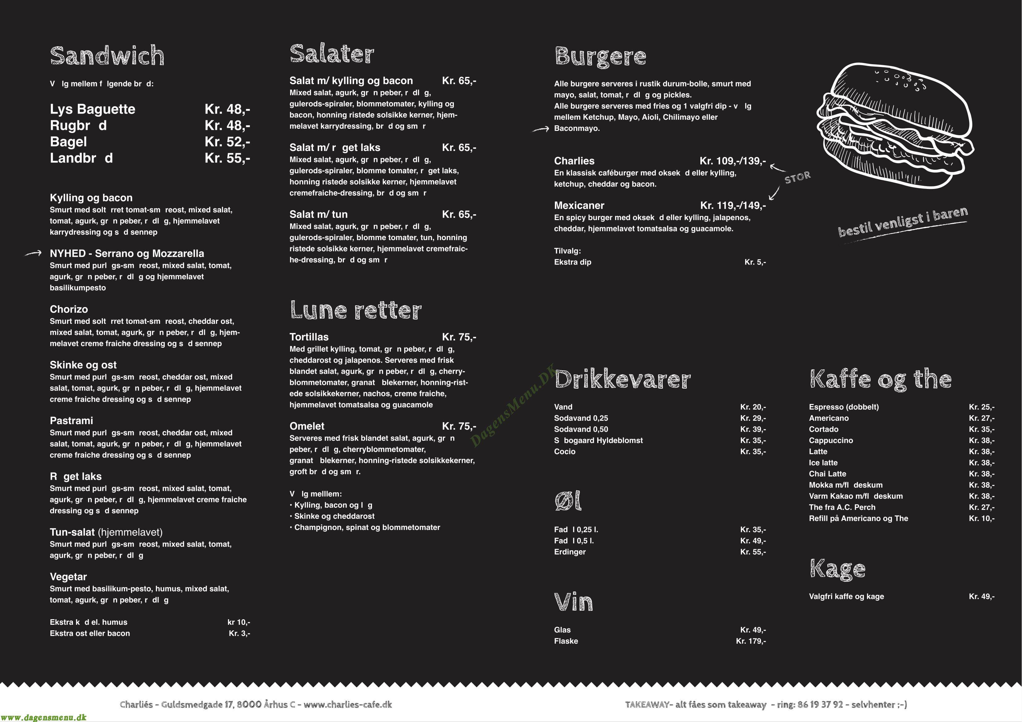 Charlies Café og Sandwichbar Menukort