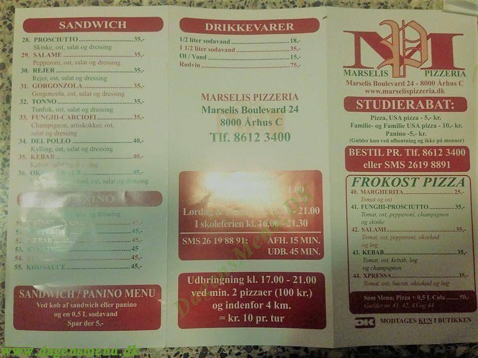 Marselis Pizzeria Og Sandwich Aarhus C Dagens Menu