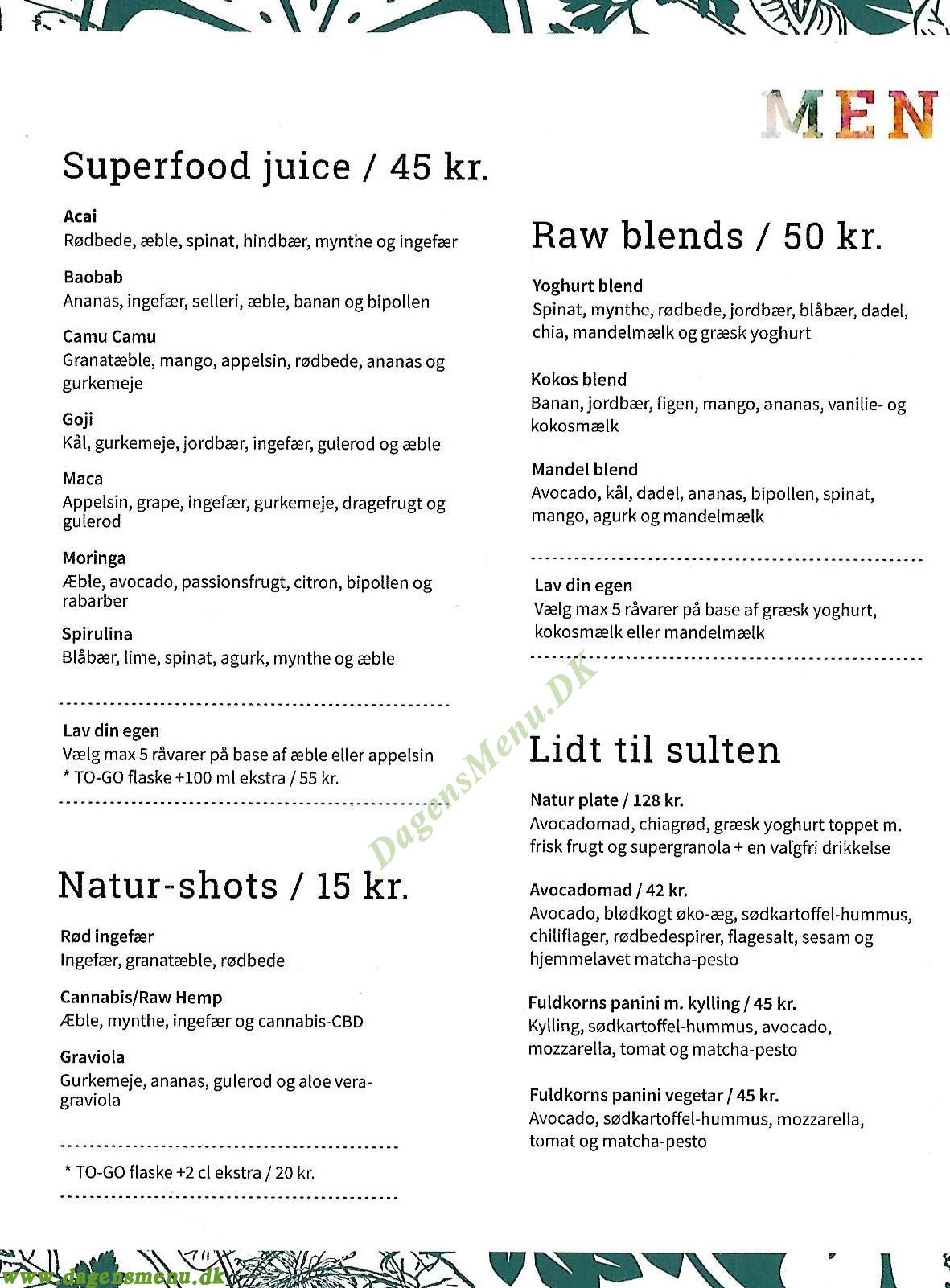 Natur Tørst Amager - Menukort