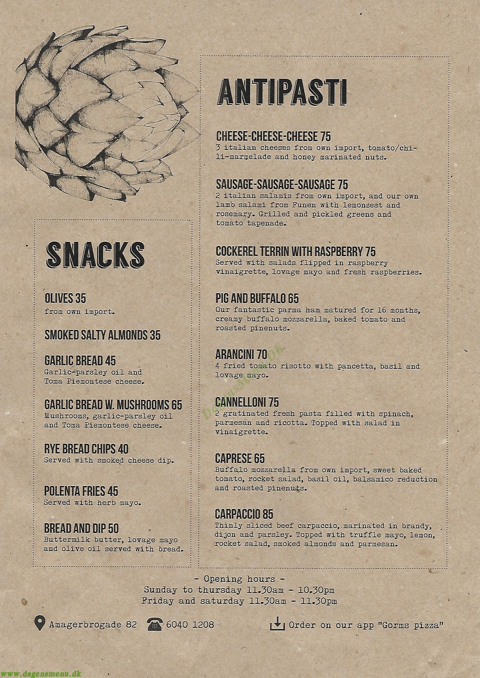 Gorm's Pizza Amager - Menukort