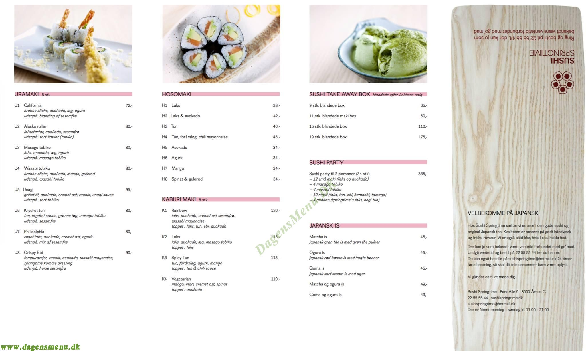 Sushi Springtime - Menukort