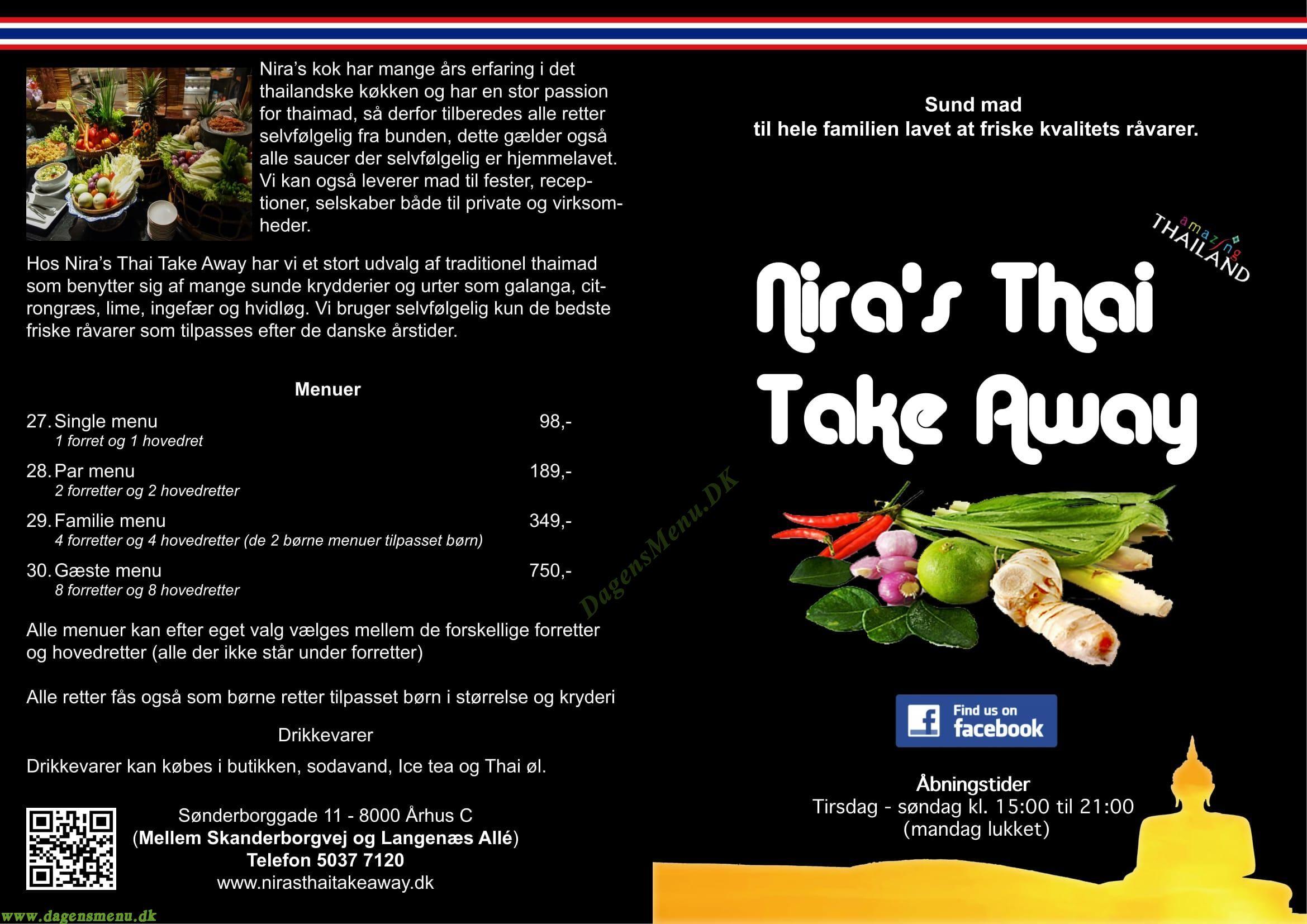 Nira's Thai Take Away Menukort