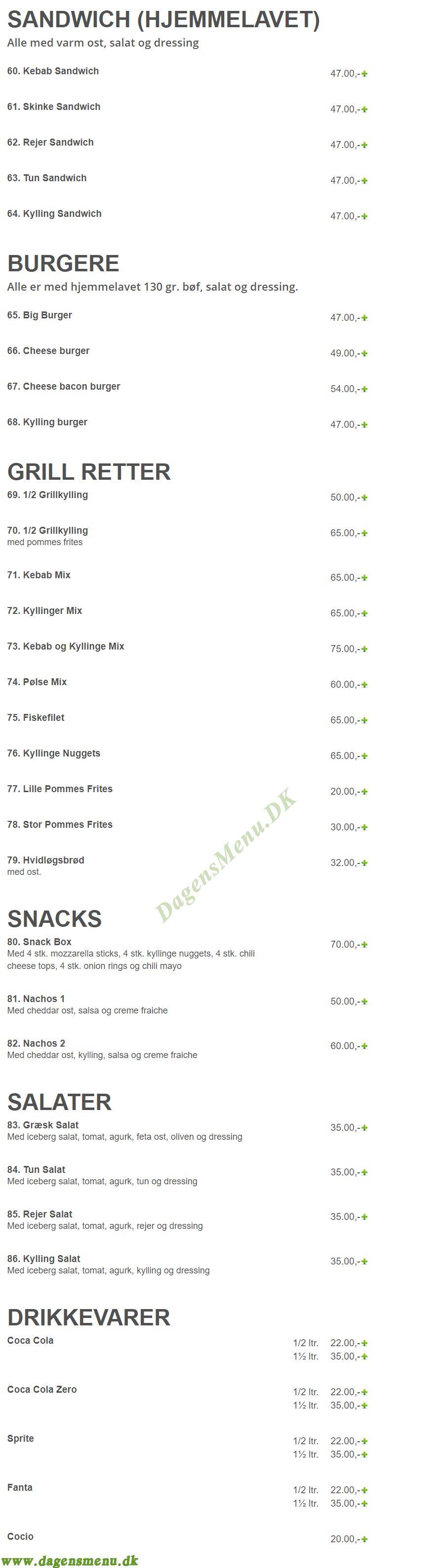 Zagu pizza - Menukort