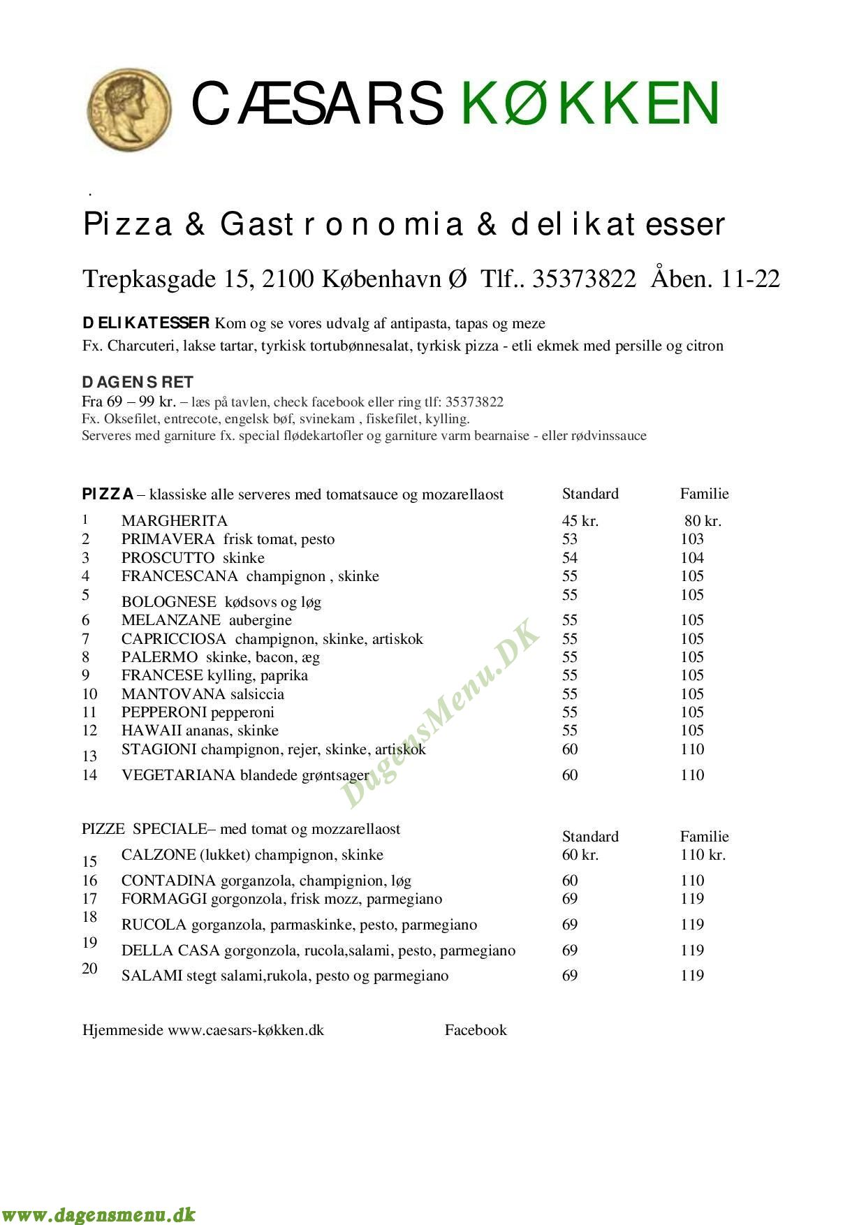 Caesars Køkken - Menukort