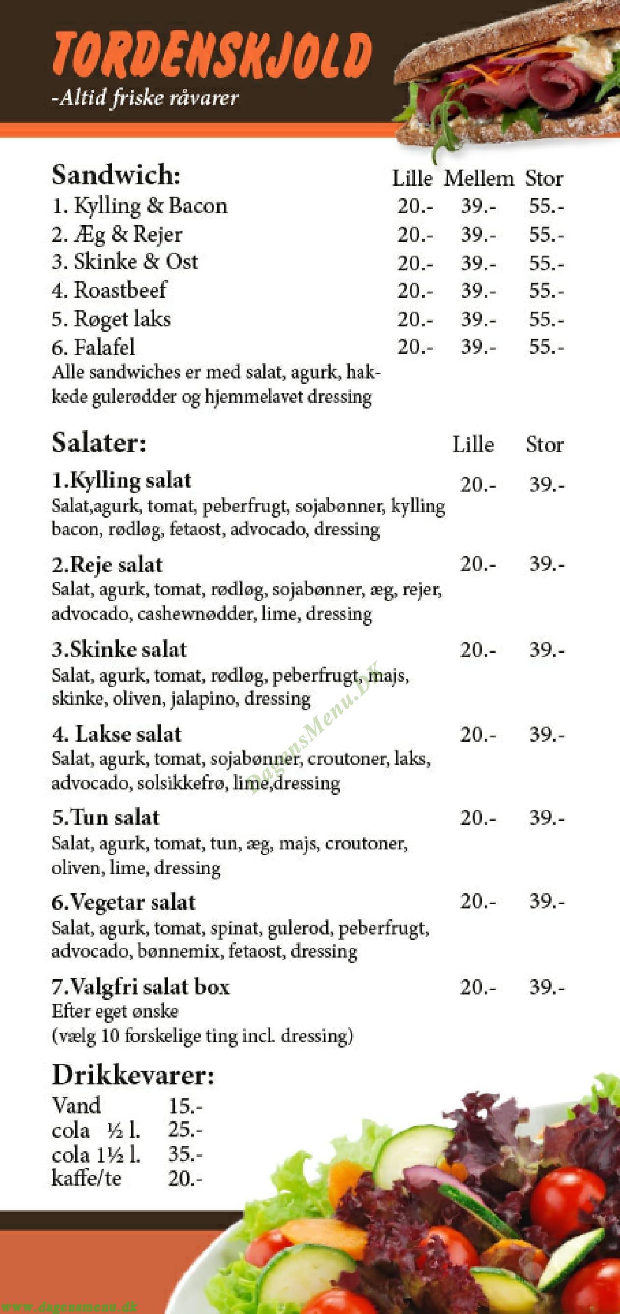 Café Tordenskjold Menukort
