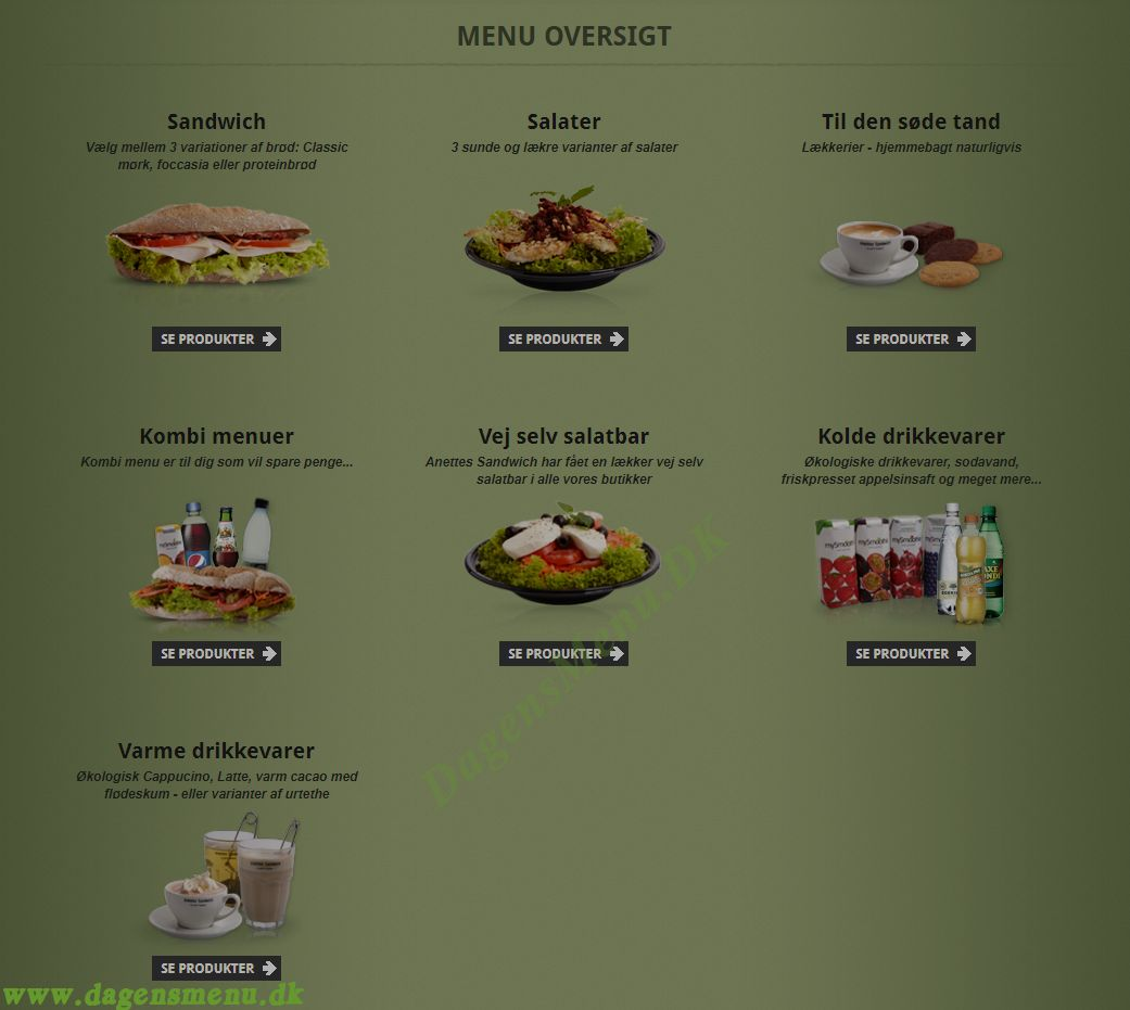 Anettes Sandwich Finlandsgade Menukort