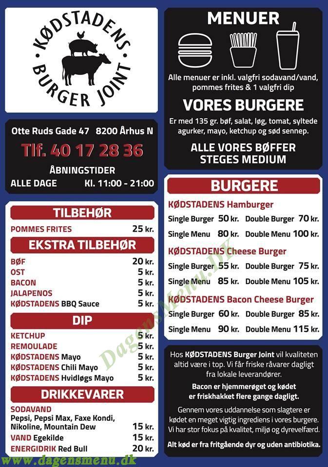 Kødstadens Burger Joint - Menukort