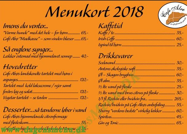 Café Alrø - Menukort