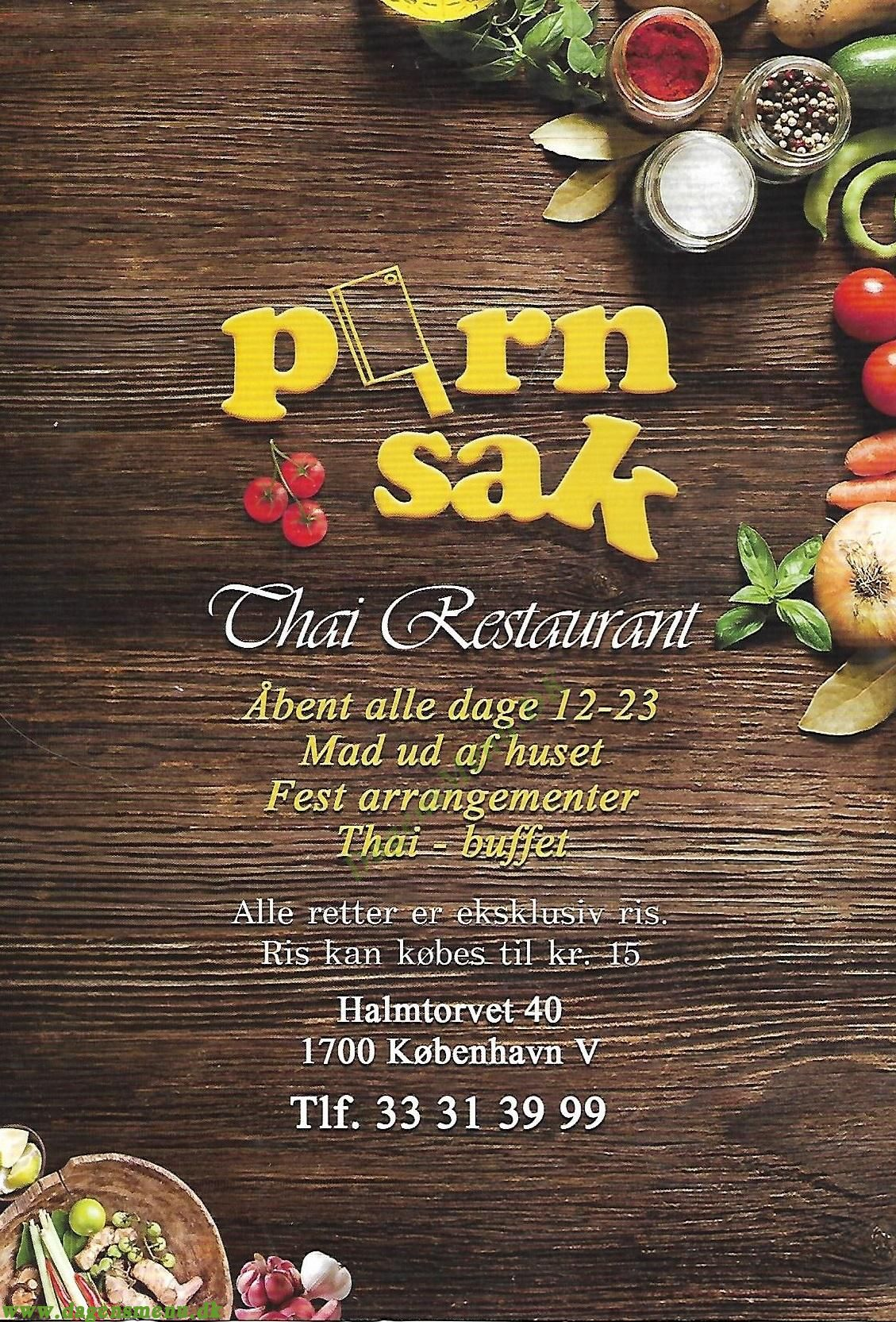 Porn Sak Thai Restaurant - Menukort