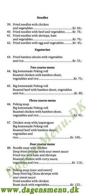 Den Nye Peking Grill - Menukort