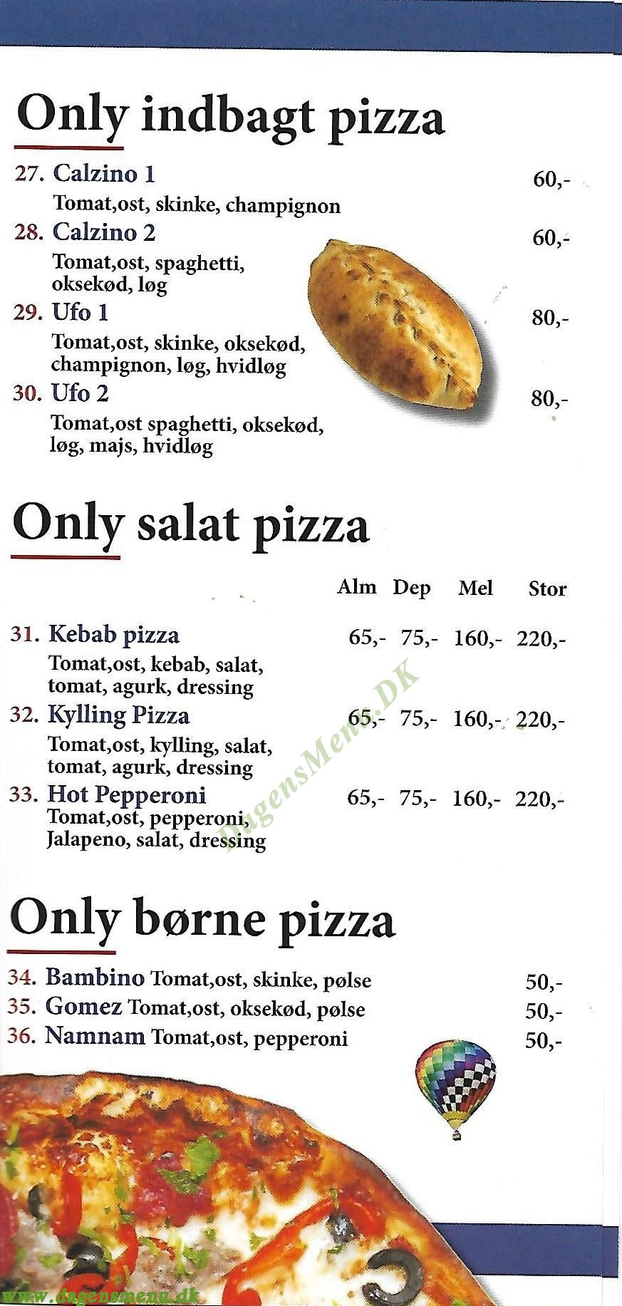 Only pizza - Menukort