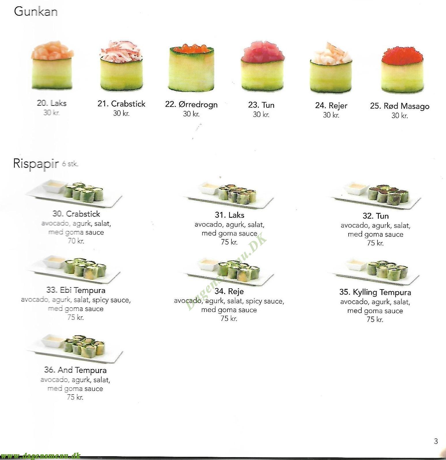 Vejle Sushi Menukort