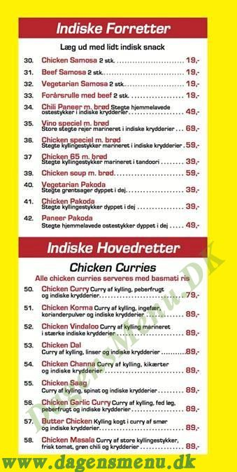 Vino Indisk Restaurant - Menukort