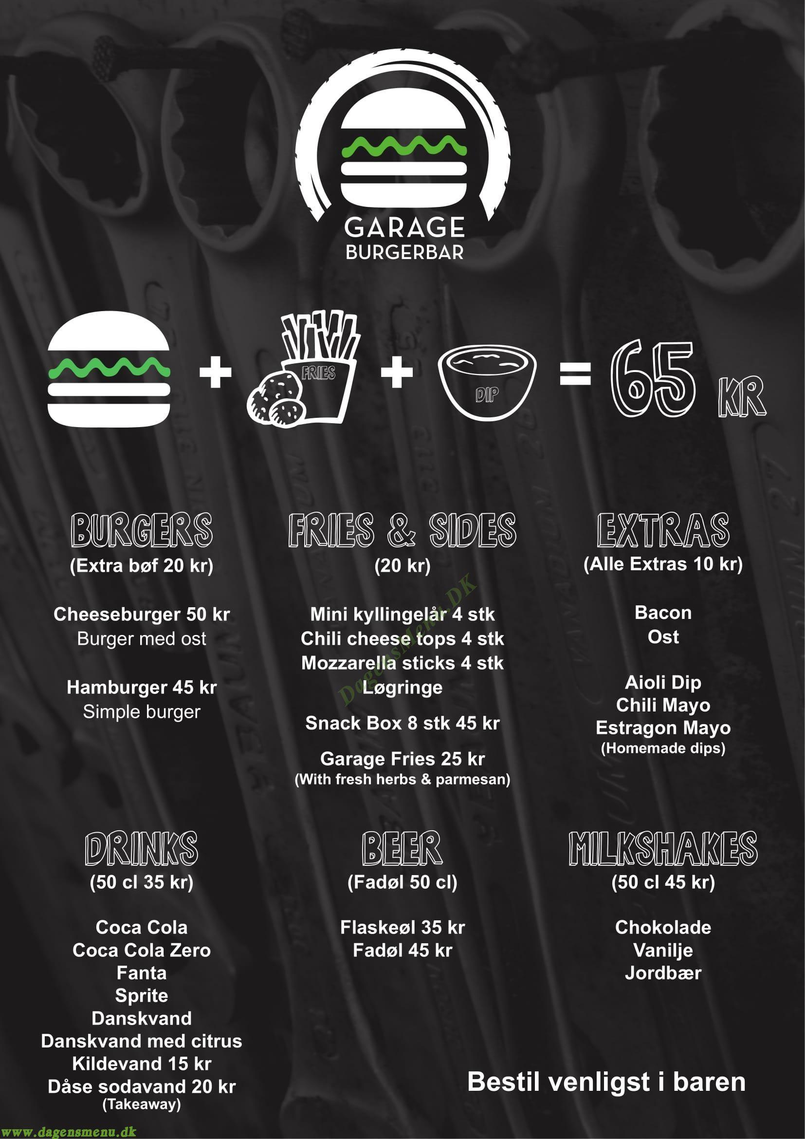 Garage Burgerbar - Menukort