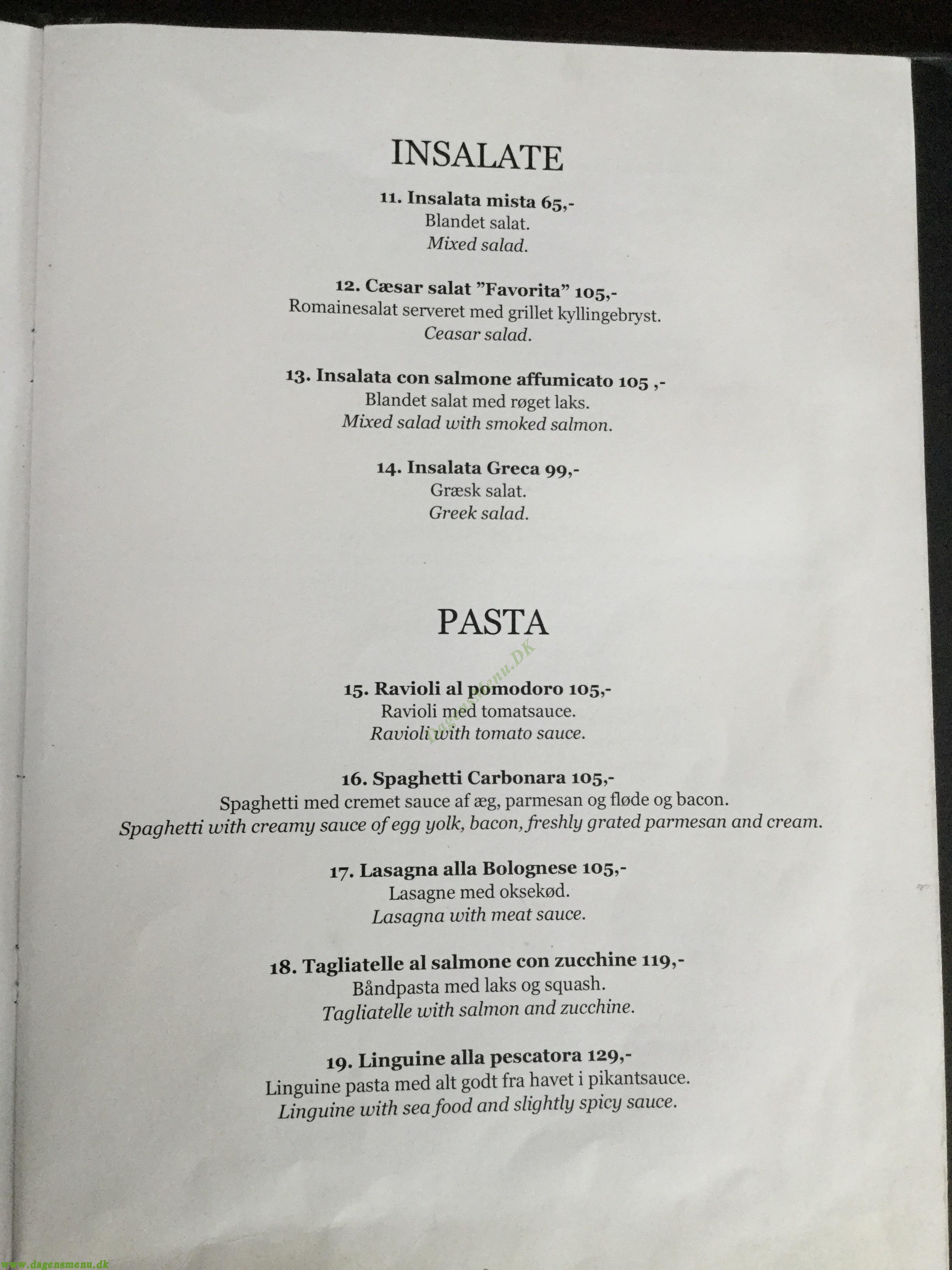 Restaurant Ponte Vecchio - Menukort