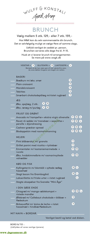 Wulff & Konstali Foodshop - Menukort