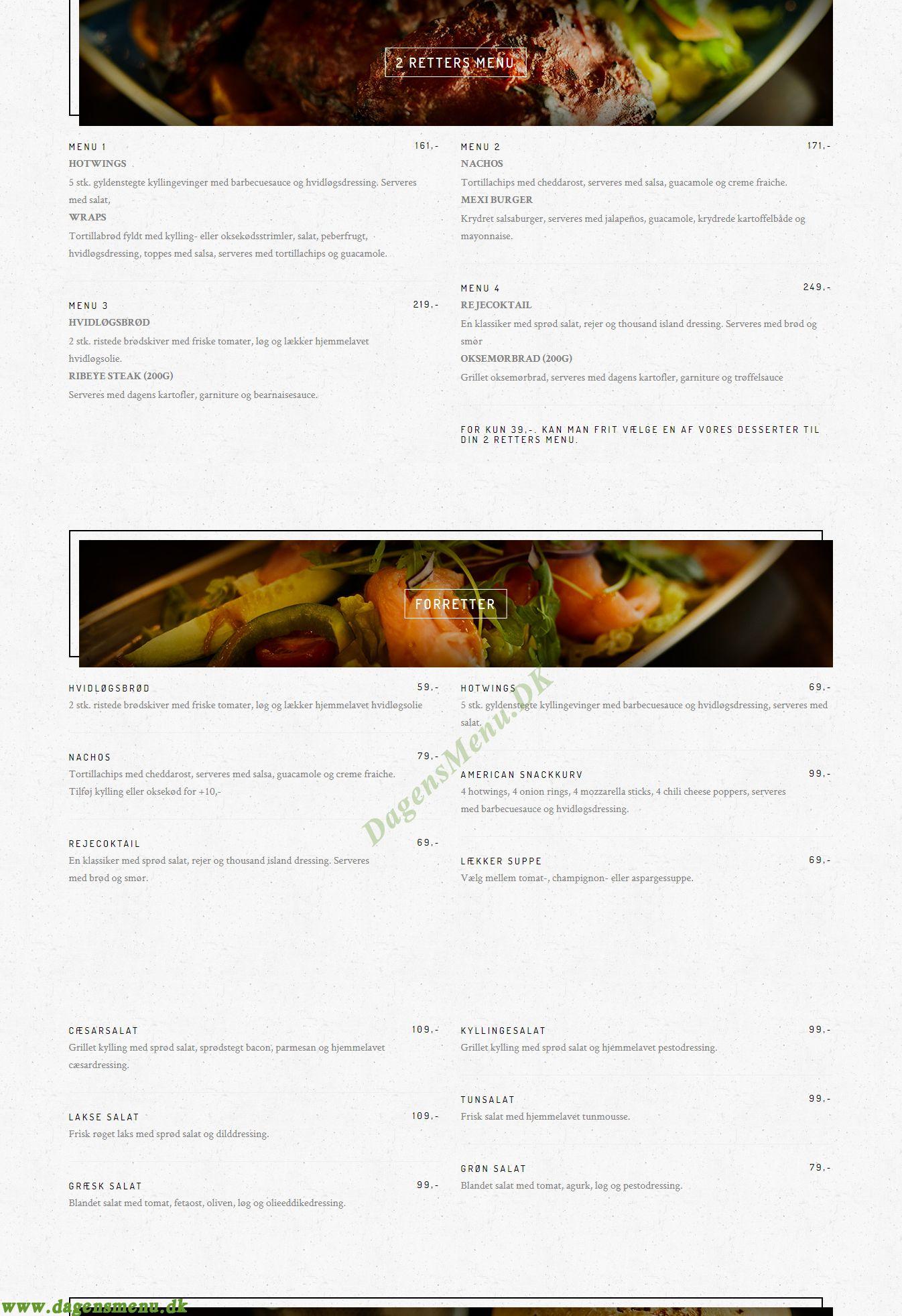 American Restaurant & Diner Fields - Menukort