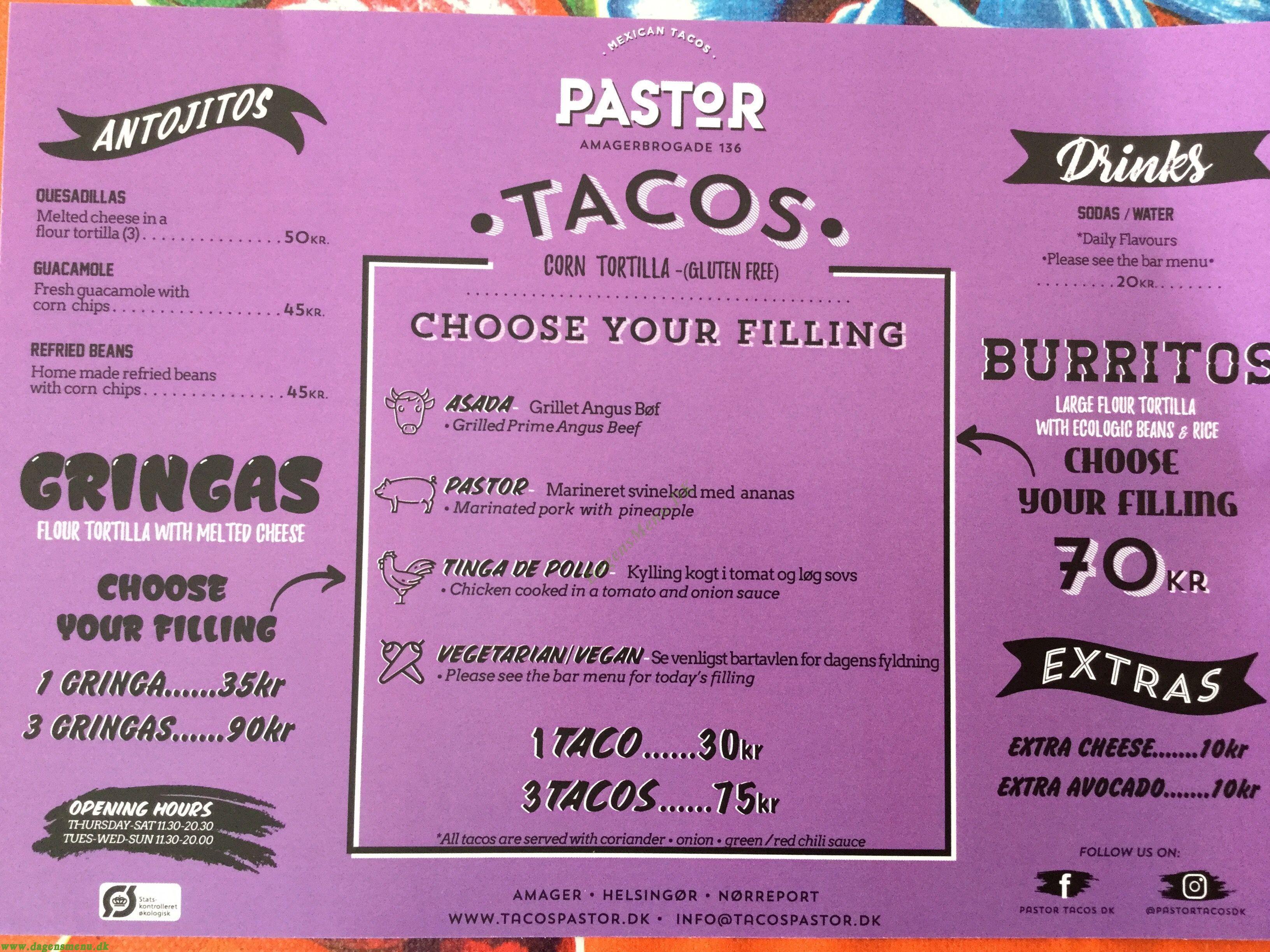 Tacos Pastor - Menukort
