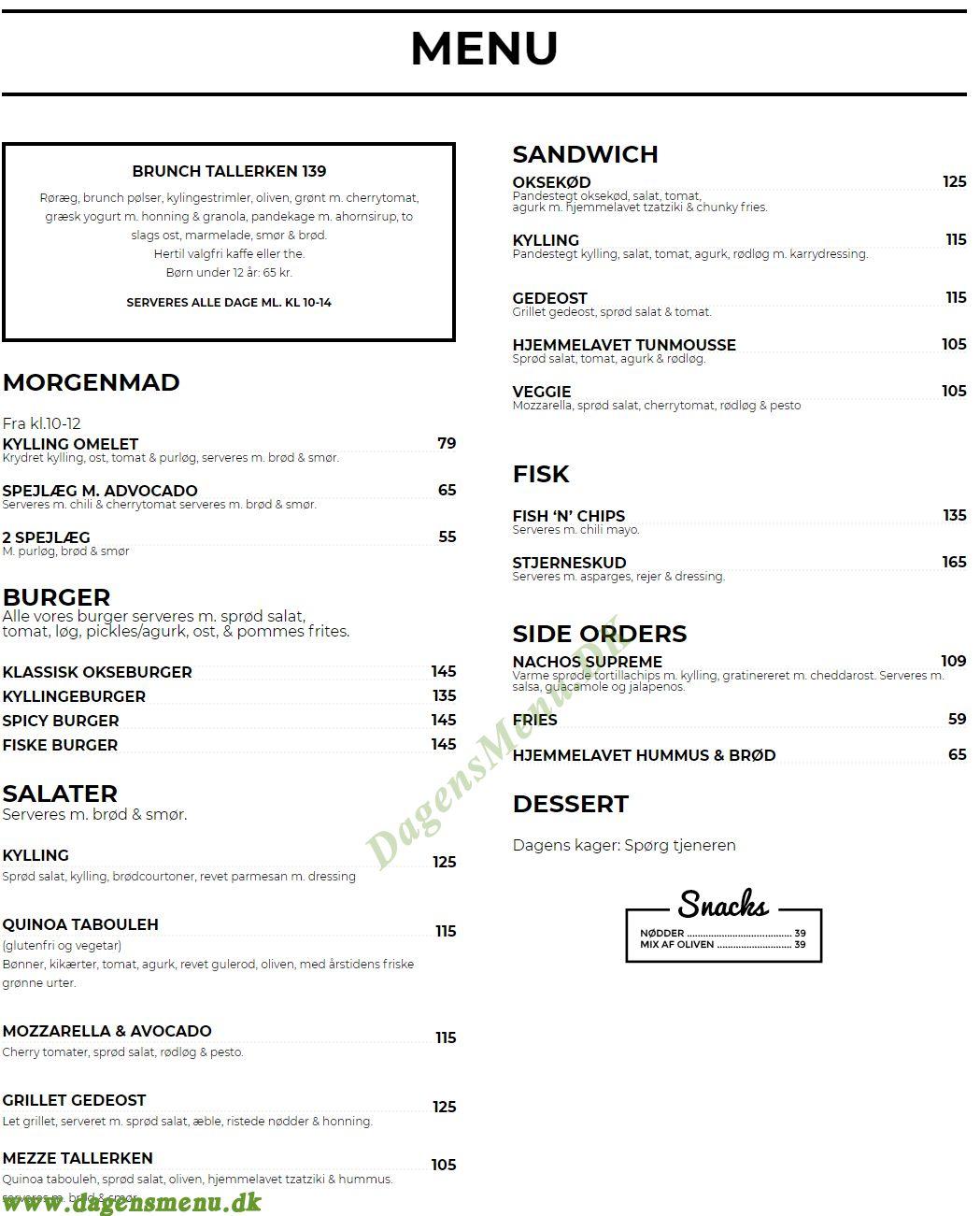 Café Baaden - Menukort