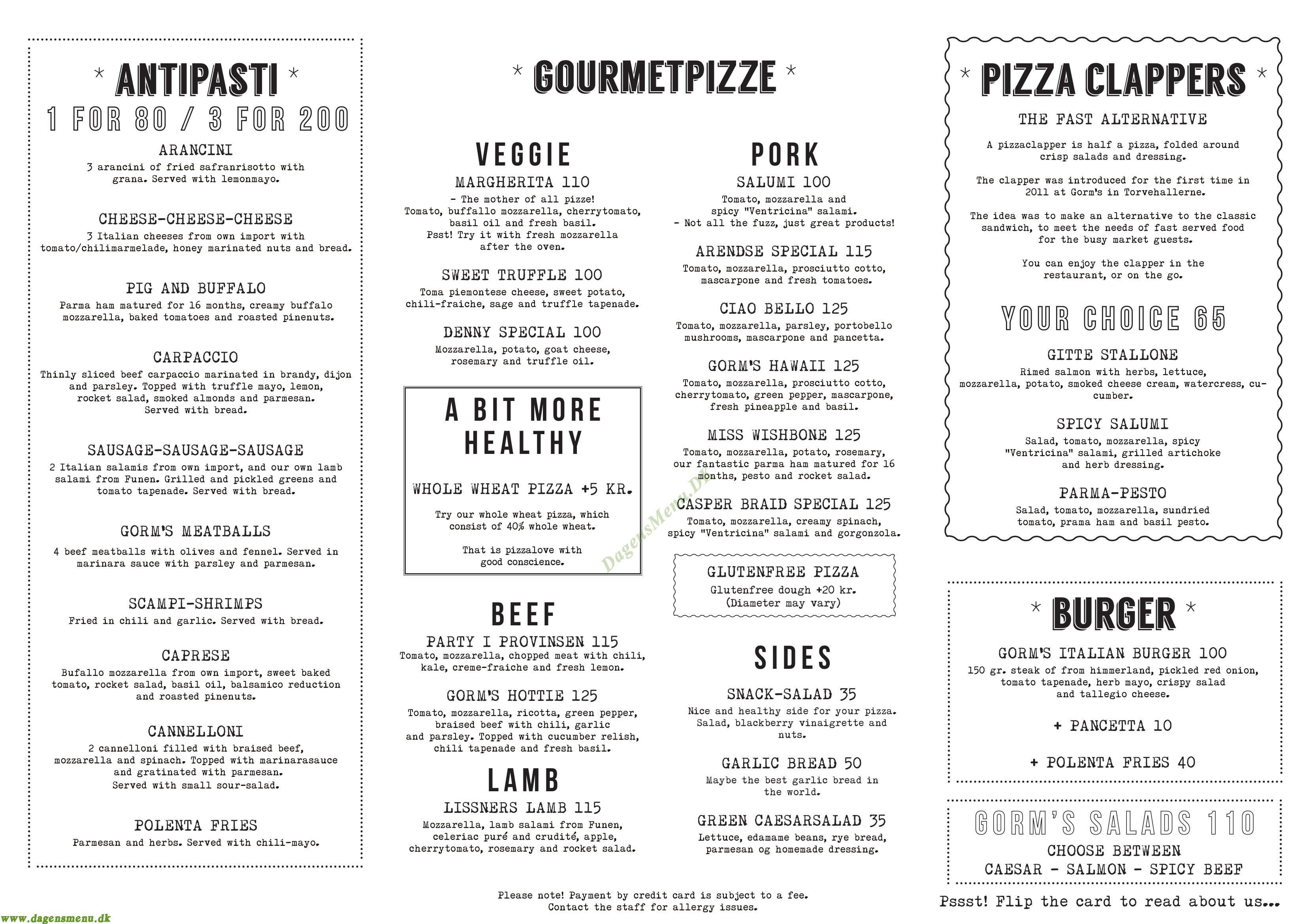 Gorm's pizza i Field's - Menukort
