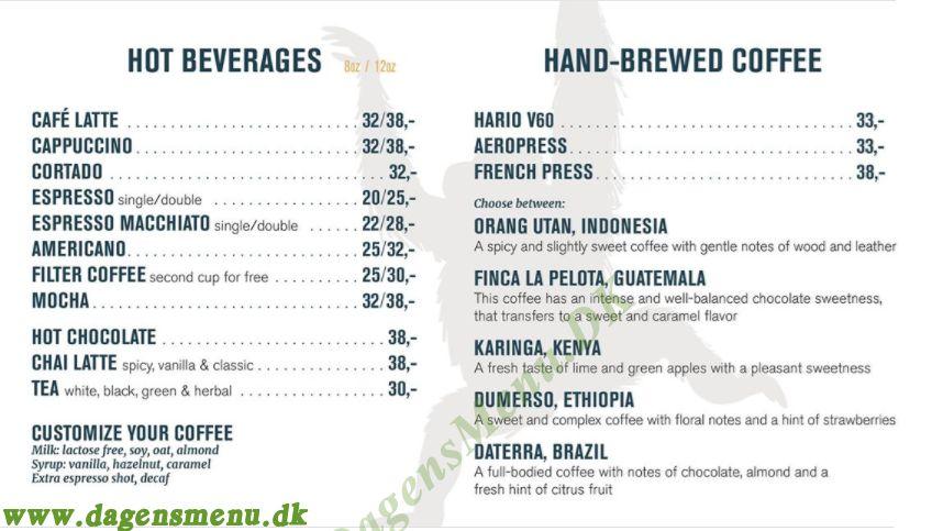 Orango Kaffe - Menukort