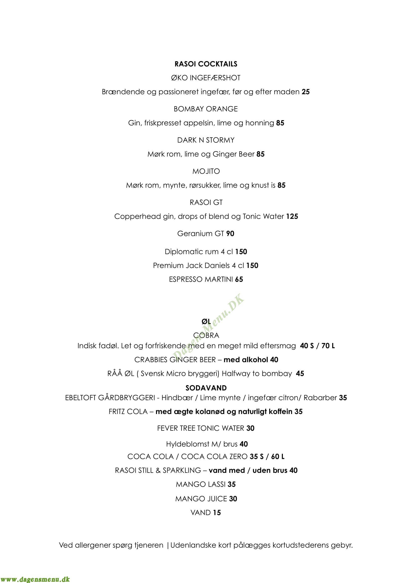 Restaurant Raso Royal Arena - Menukort