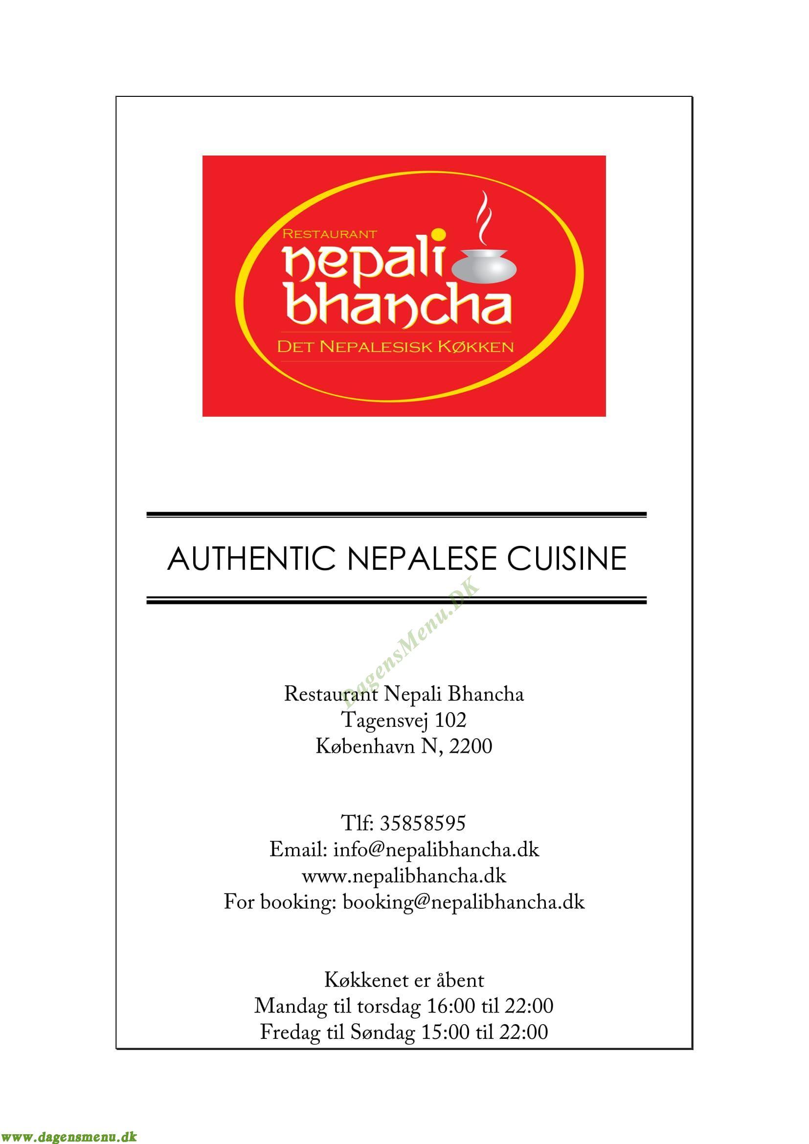 Restaurant Nepali Bhanchha Menukort