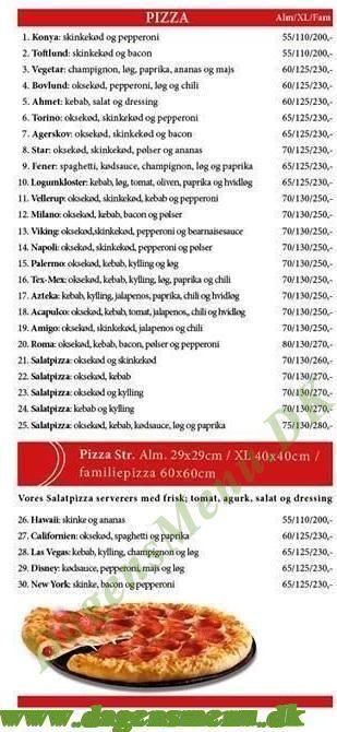 Agerskov Pizza & Grillbar Menukort