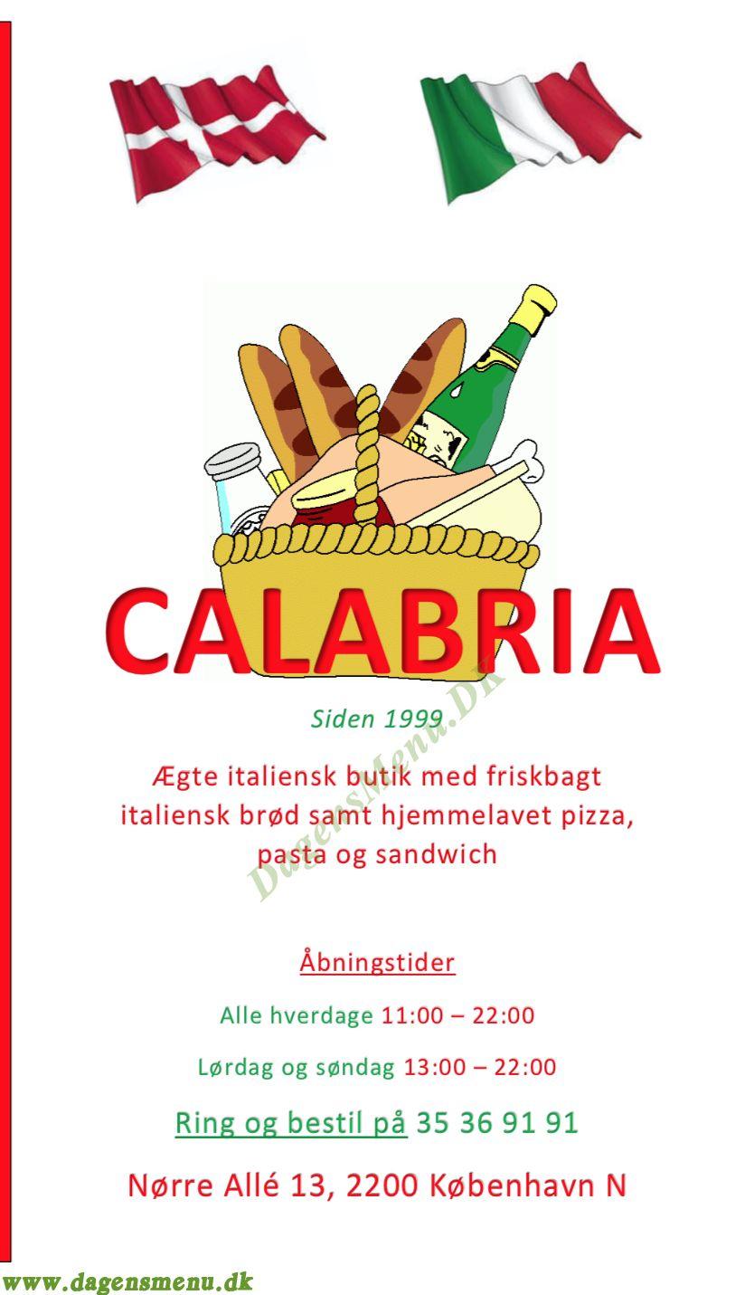 Pizza Calabria - Menukort