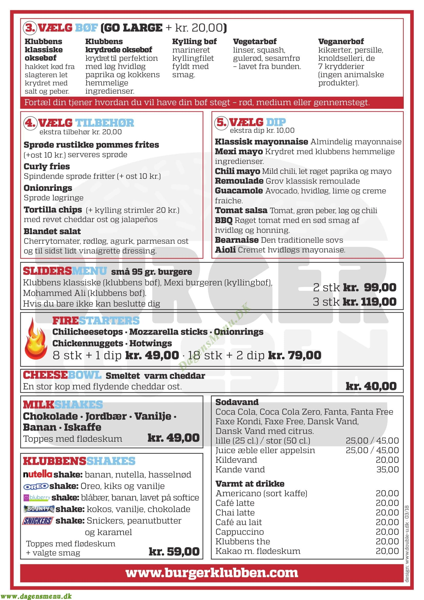 Burgerklubben - Menukort