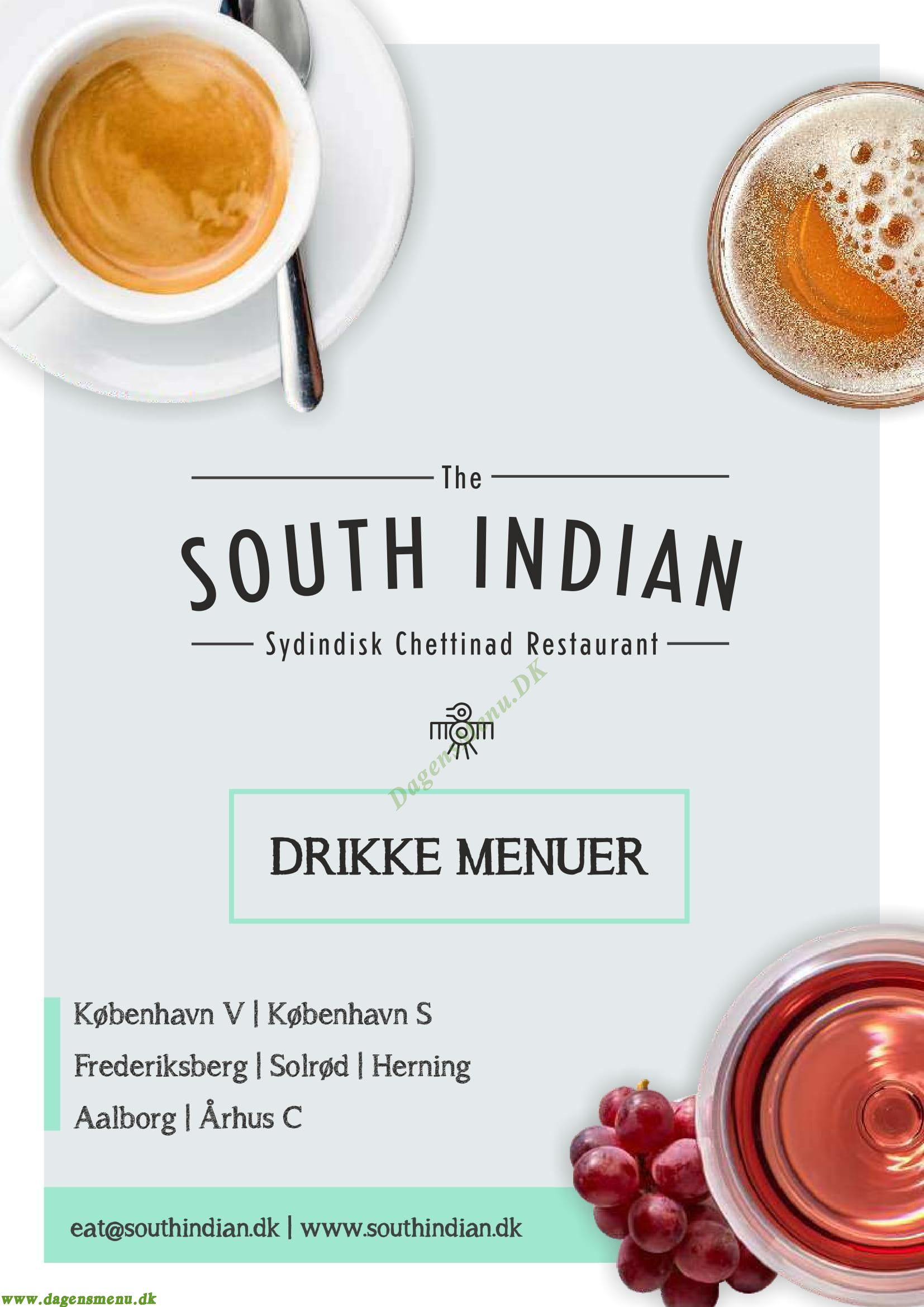 The South Indian - Menukort