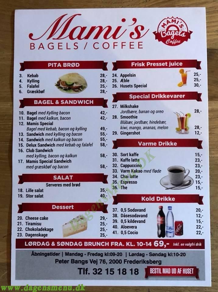 Mami's Bagel And Coffee House - Menukort