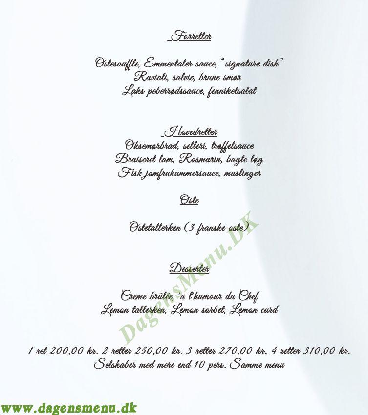 Restaurant Carte Blanche - Menukort