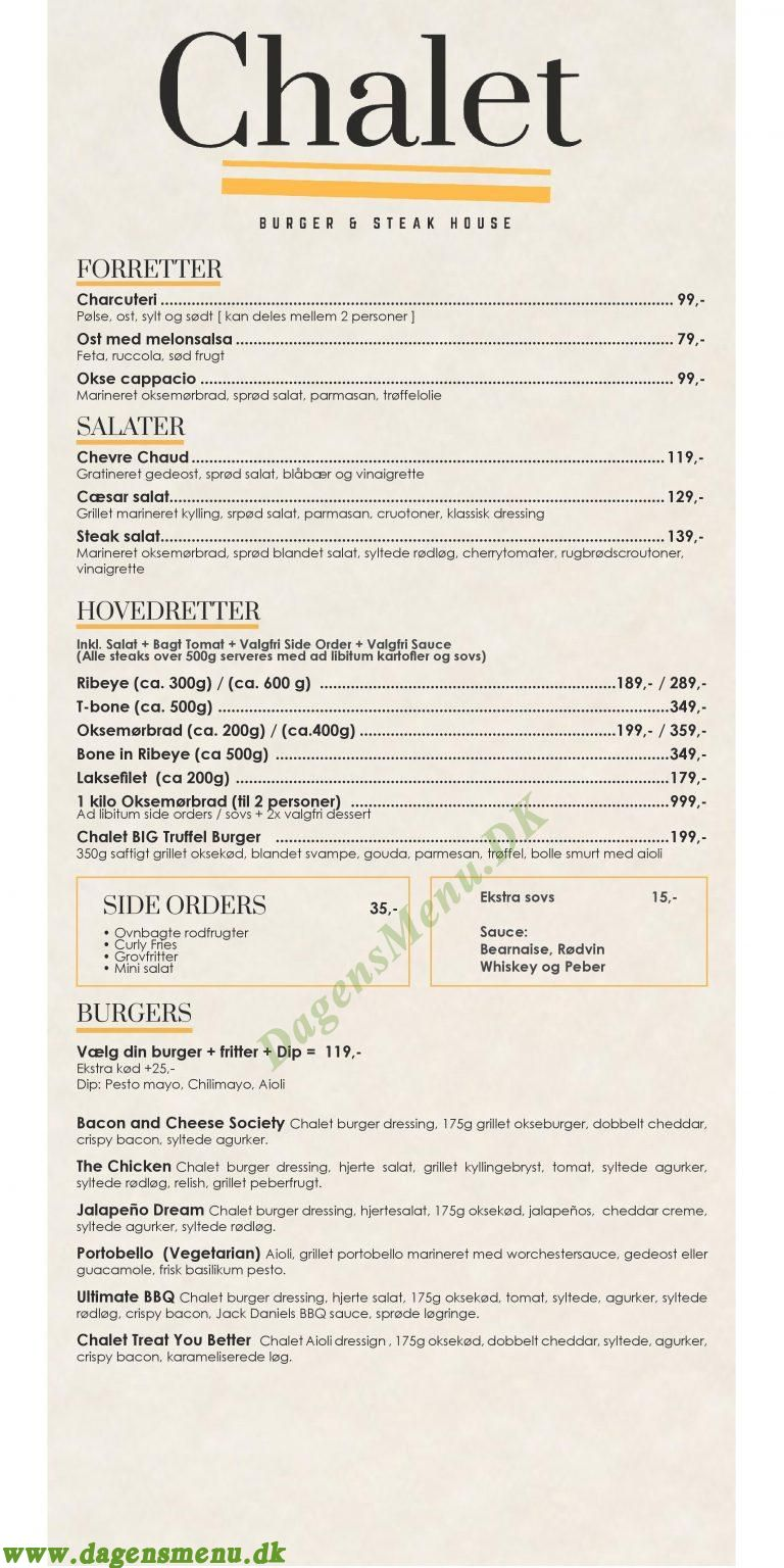 Chalet Burger & Steak - Menukort