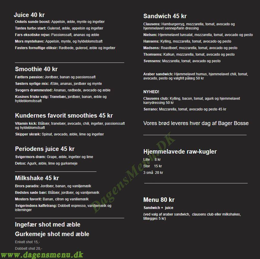Clausens sandwich og juice - Menukort