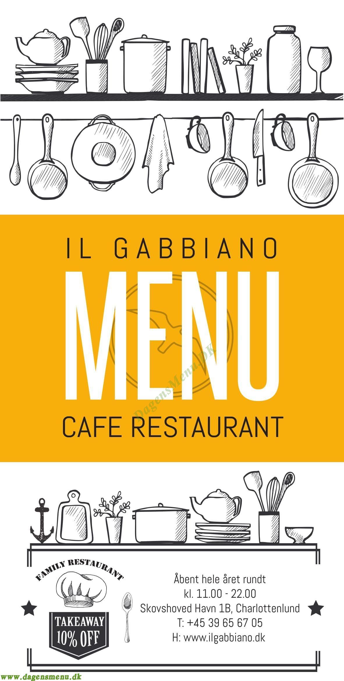 Il Gabbiano Restaurant - Menukort