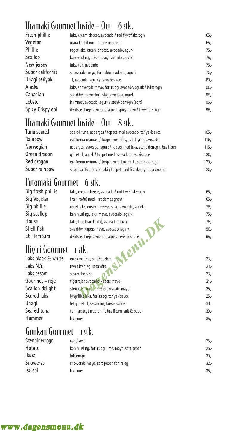 Gourmet Sushi Nordsjælland - Menukort