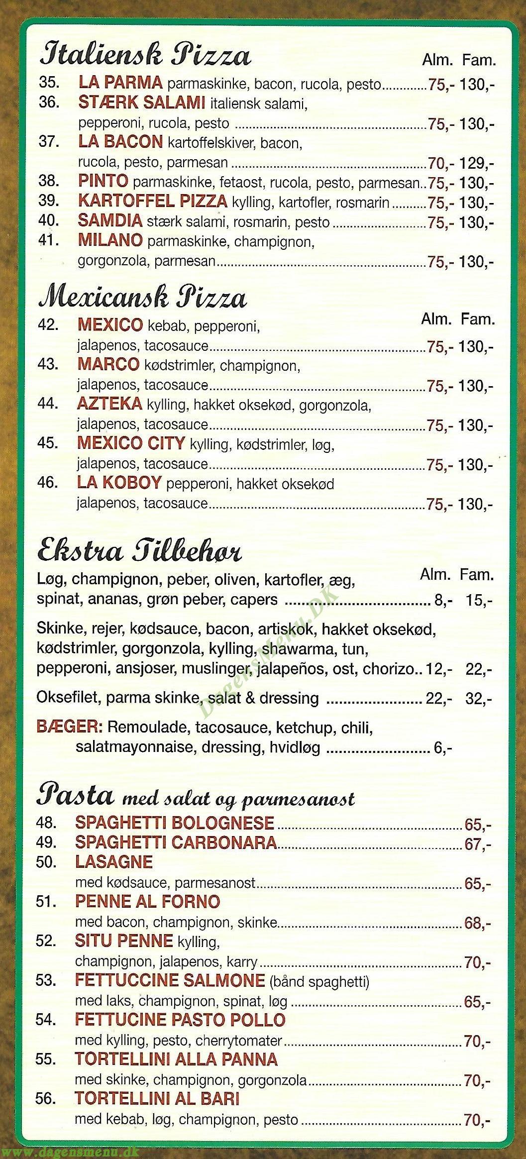 Pizza Experten - Menukort