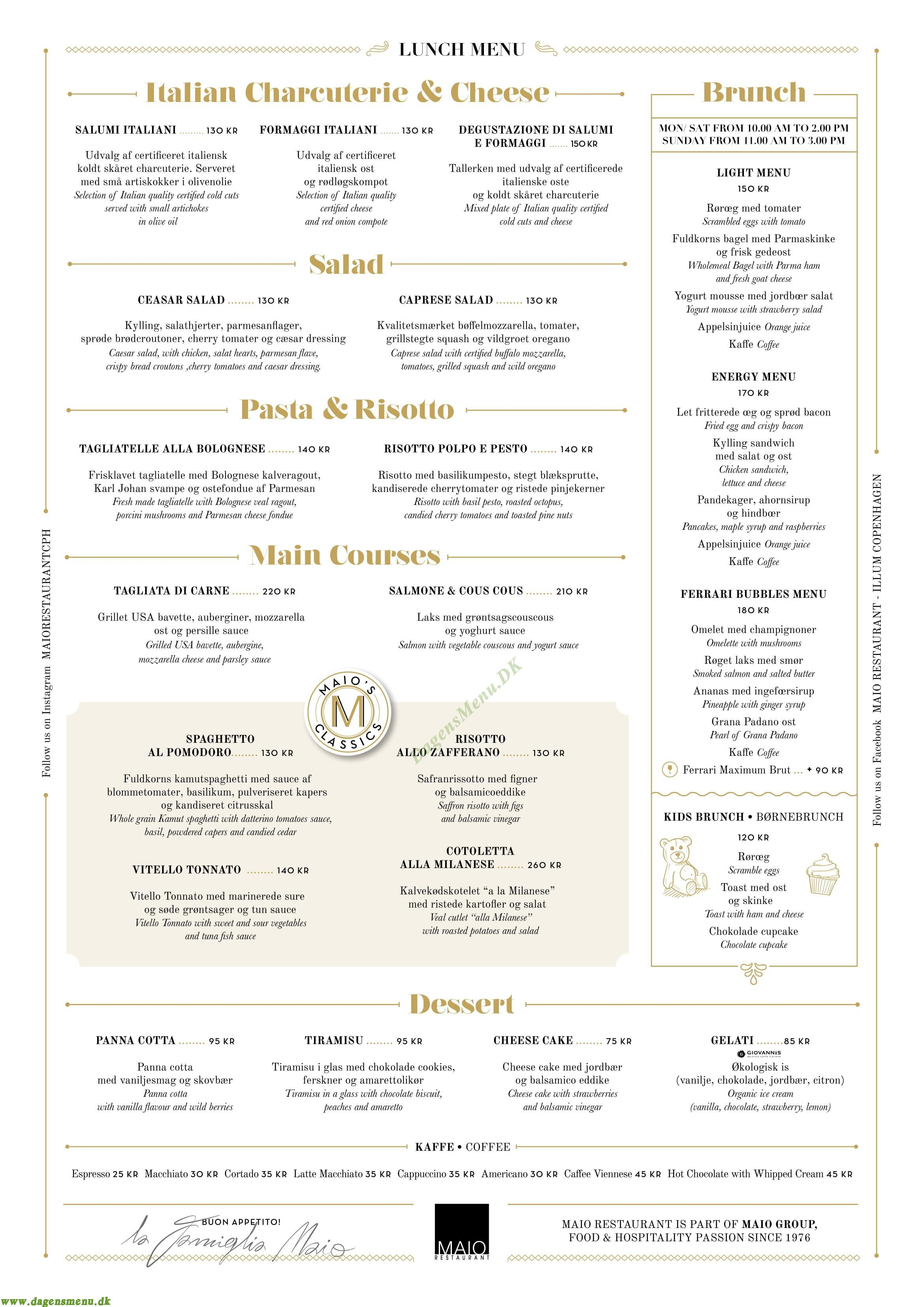 Maio Restaurant - Menukort