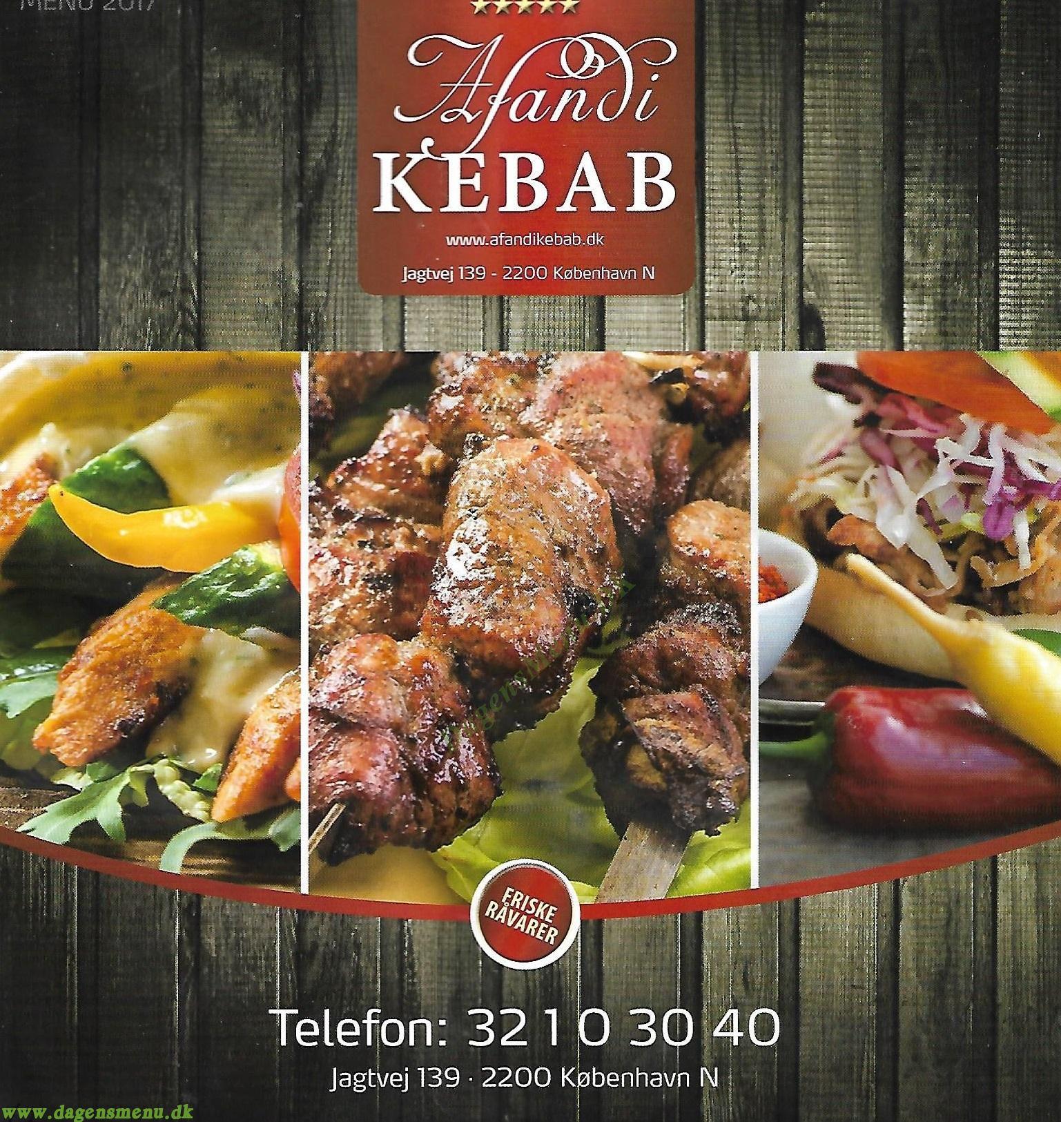 Afandi Kebab - Menukort