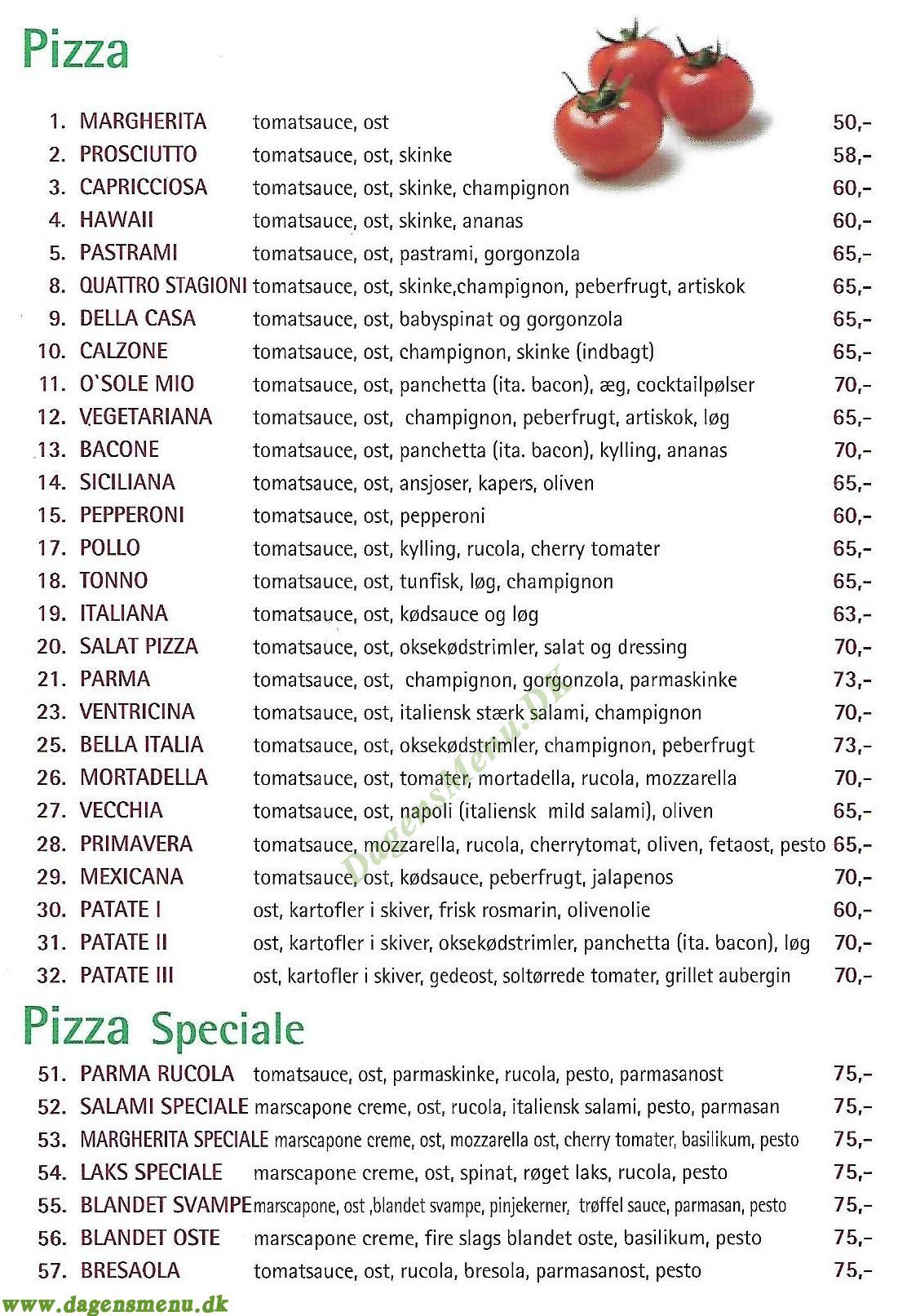 Le Quattro Stagioni pizza - Menukort