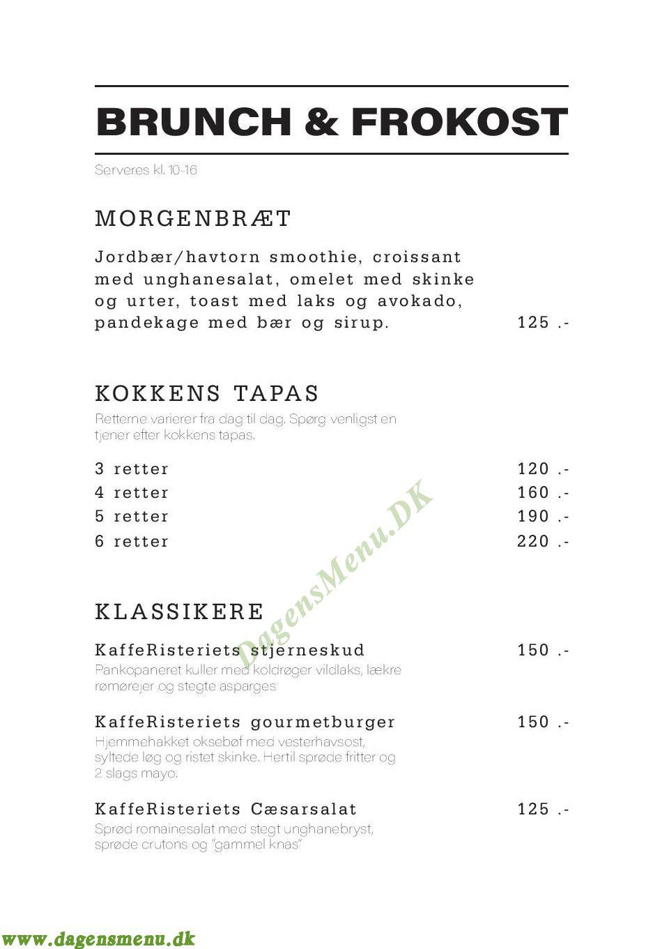KaffeRisteriets - Menukort