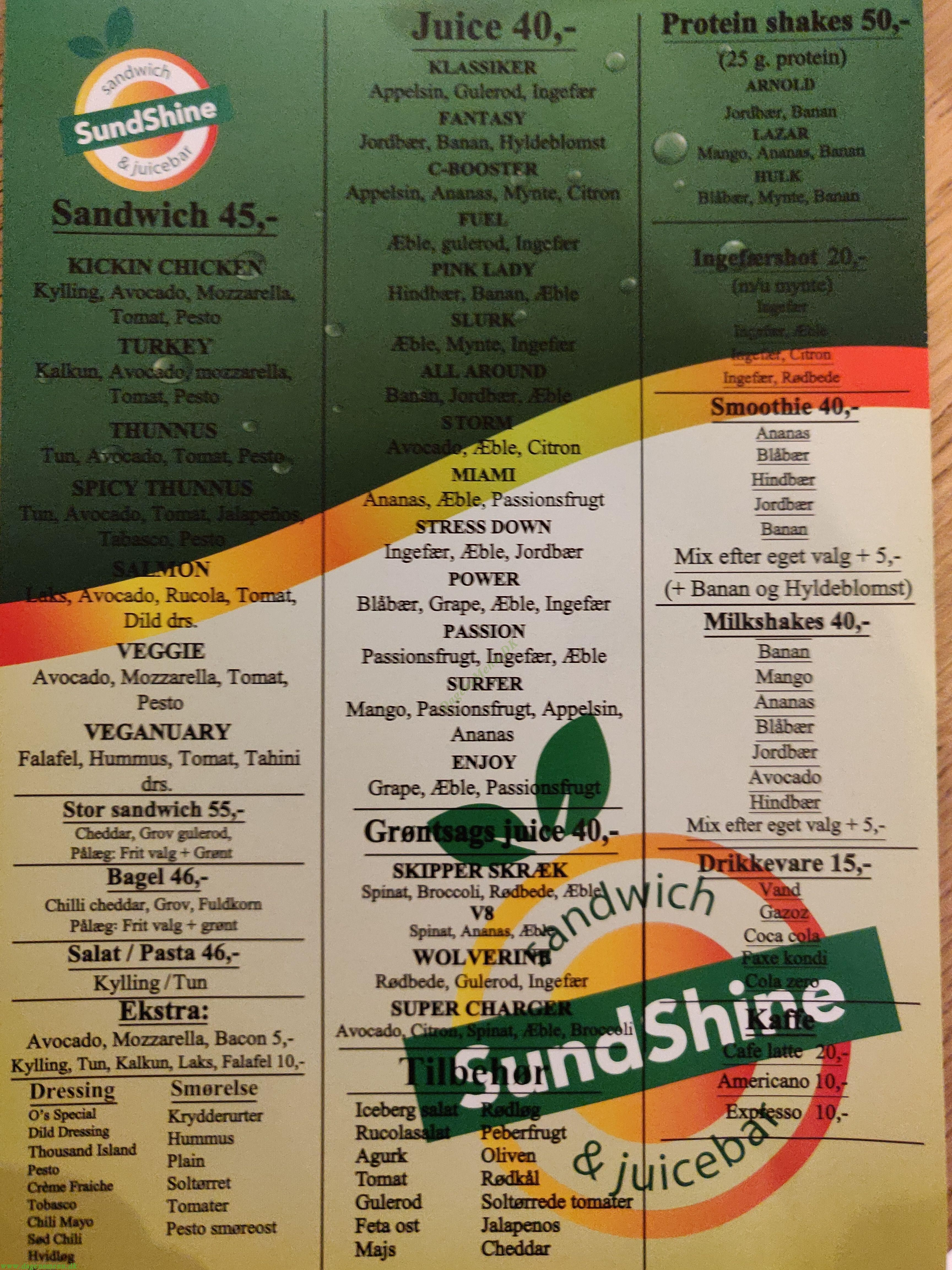 SundShine sandwich & juicebar - Menukort