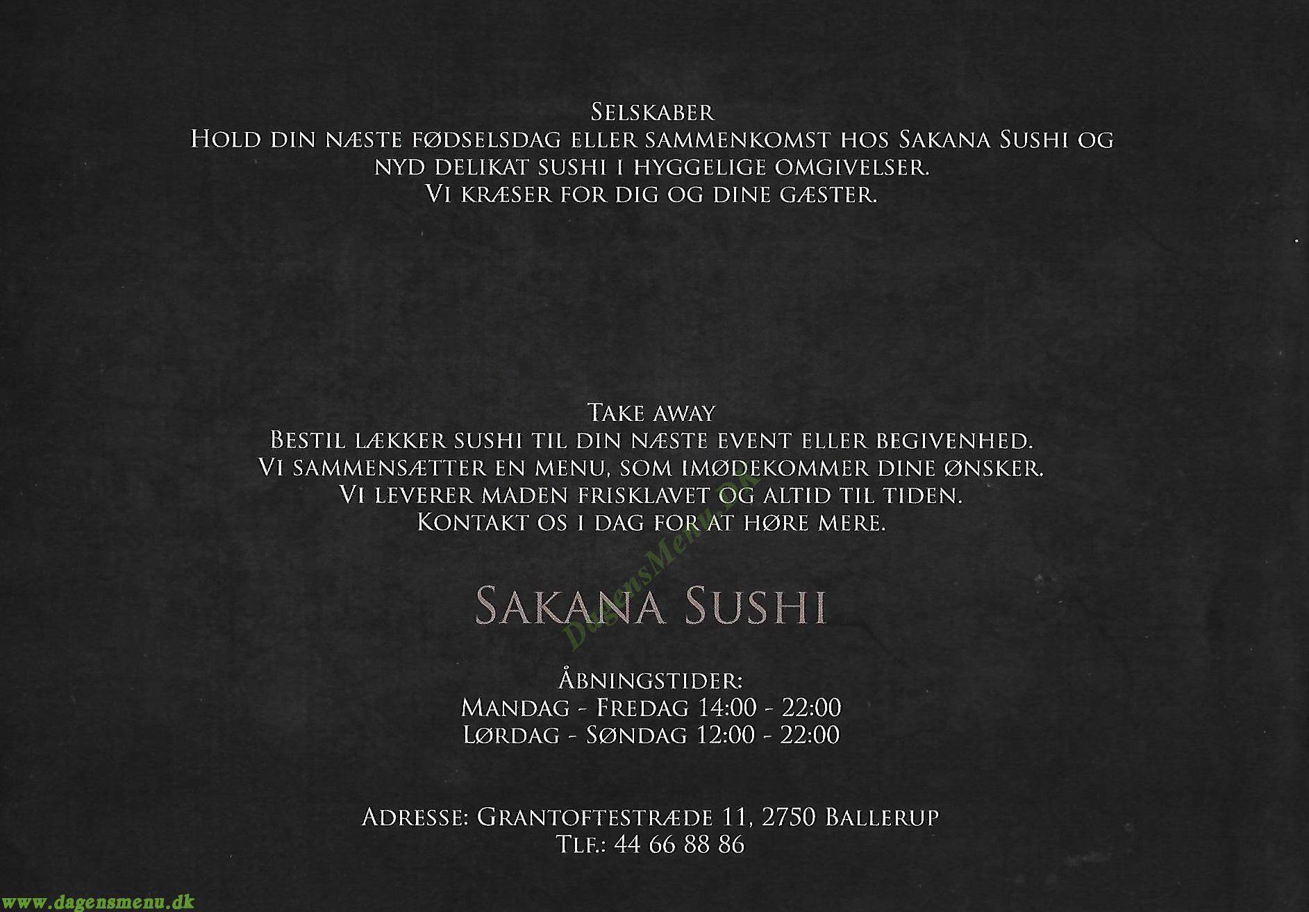 Sakana Sushi - Menukort
