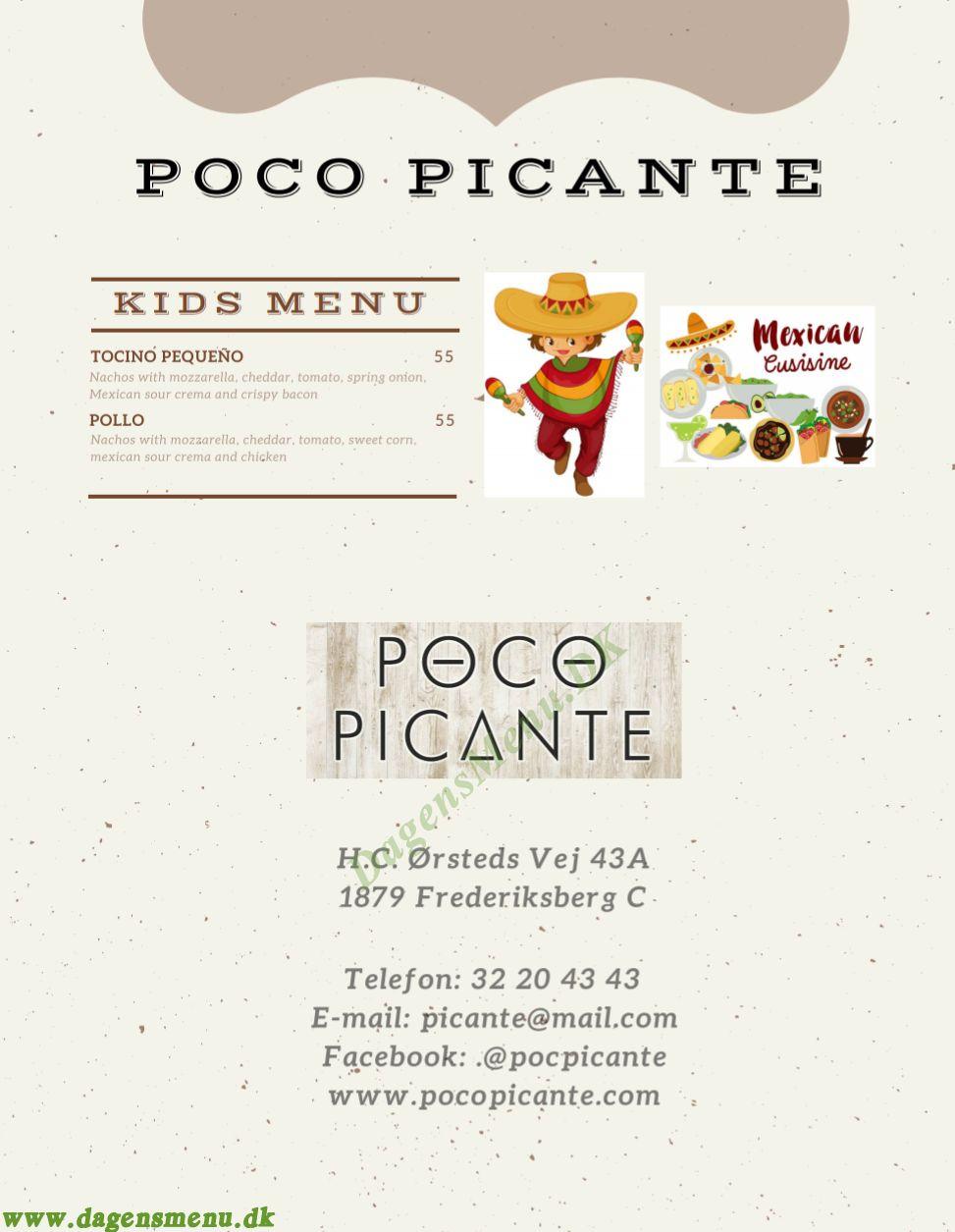 Poco Picante Mexicansk Restaurant - Menukort