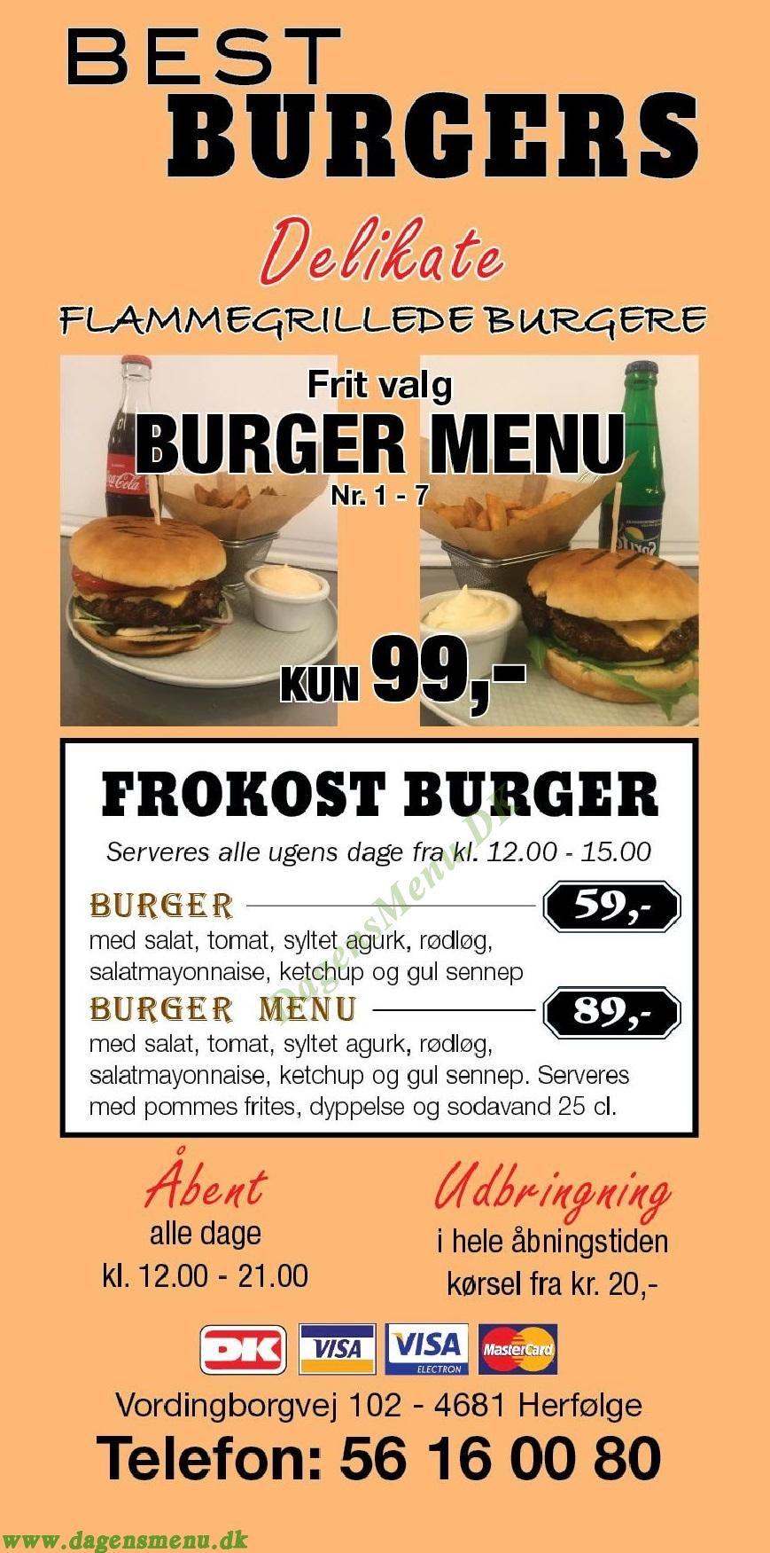 Best Burgers - Menukort