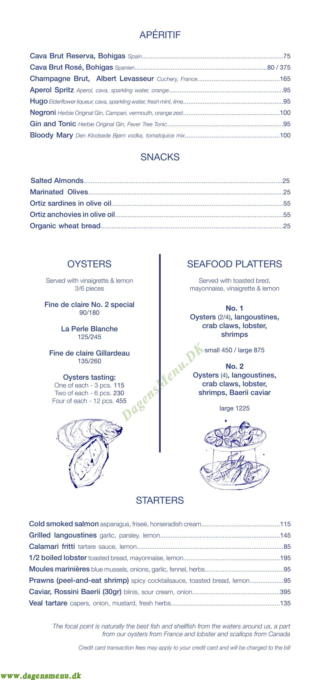 Restaurant Havfruen - Menukort