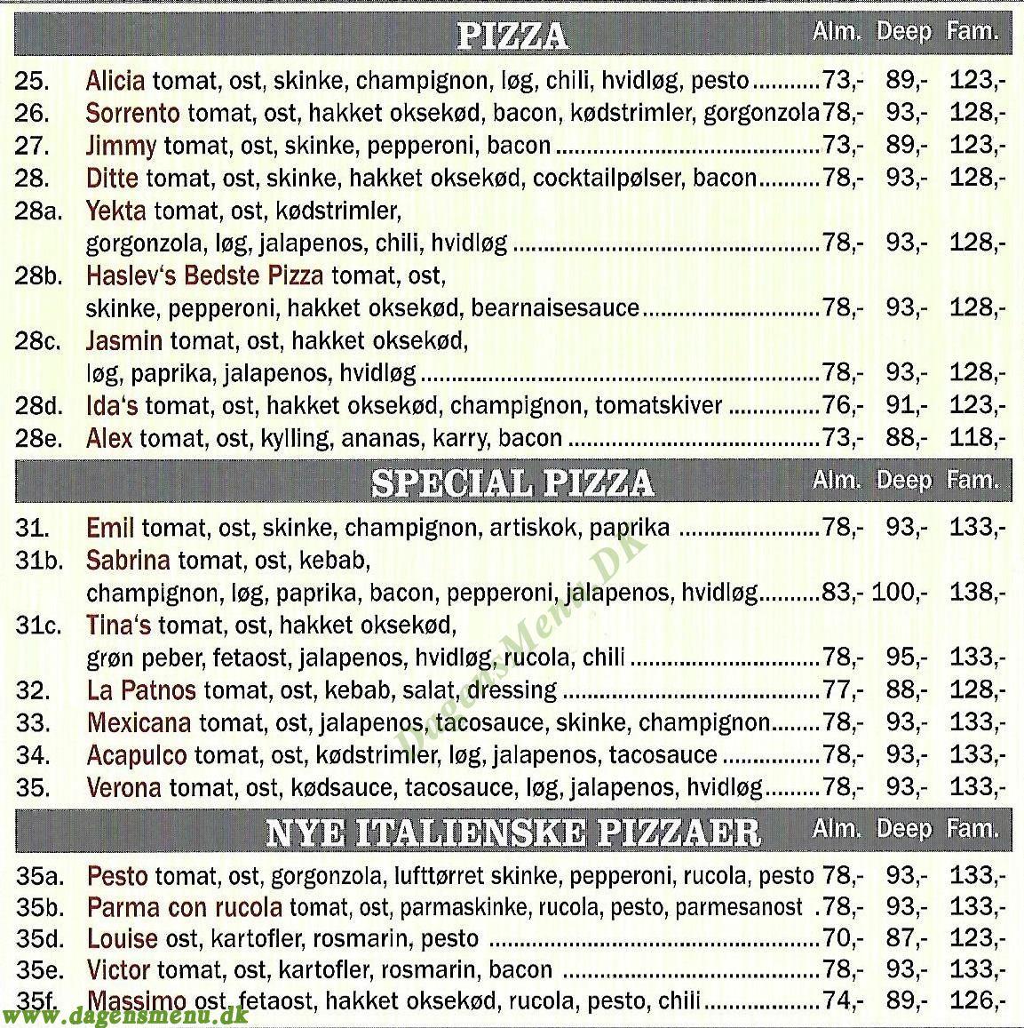 Reys Pizzeria og Burger house - Menukort