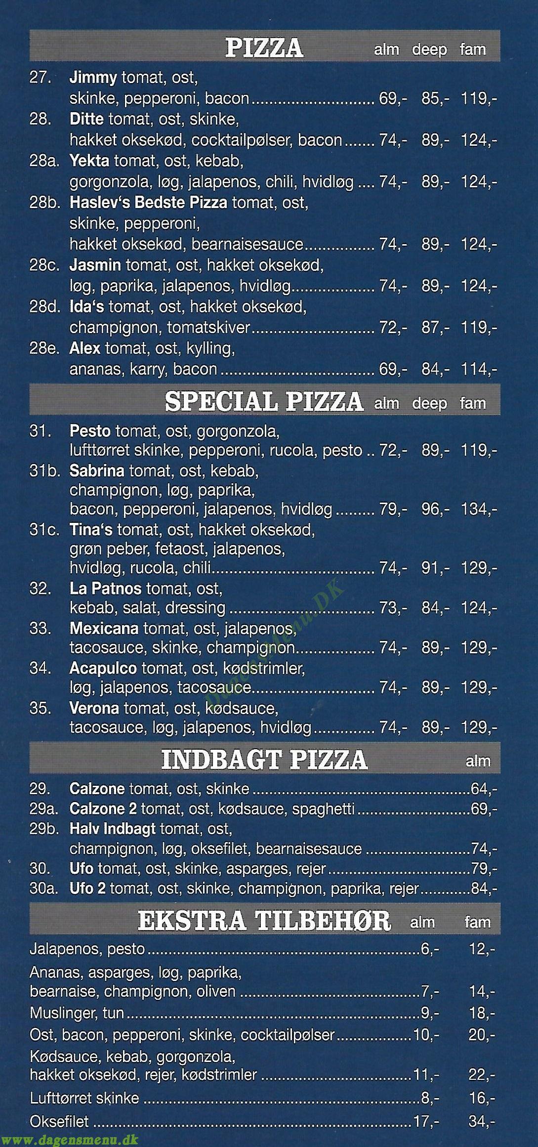 Reys Pizza - Menukort
