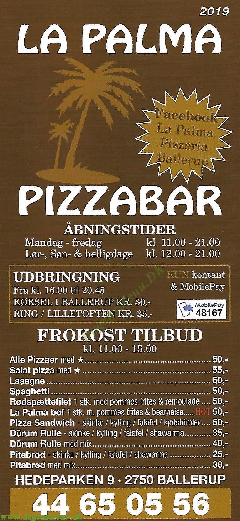 La Palma Pizza - Menukort